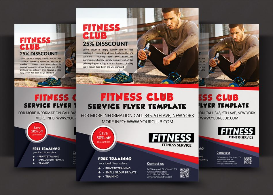 Fitness Club Flyer Template PSD