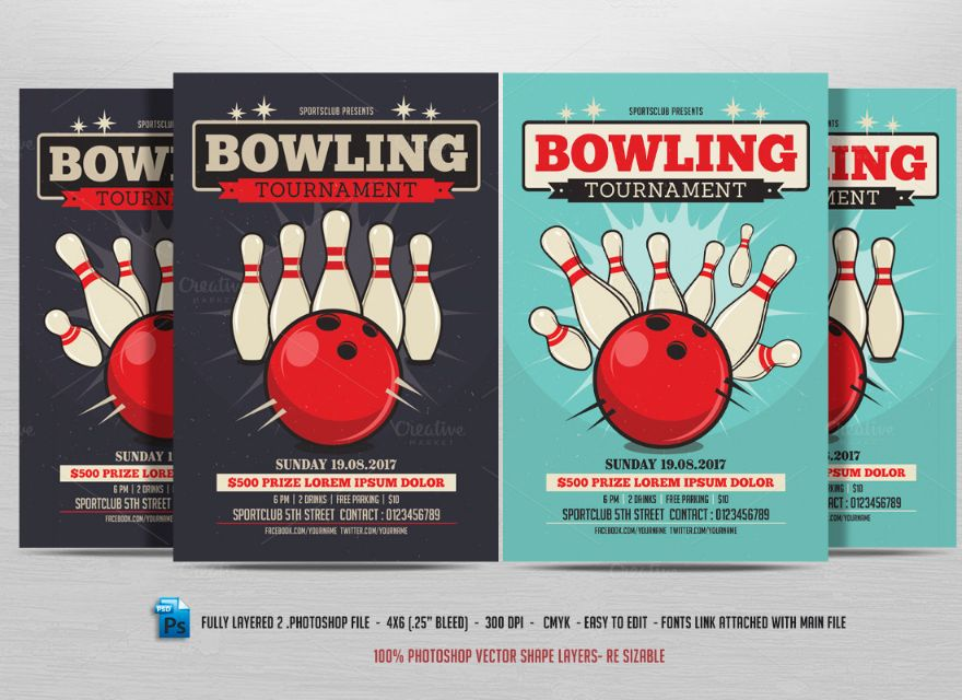 15 Bowling Invitation Template PSDPDF and Vector EPS Format – Bowling Invitation Template