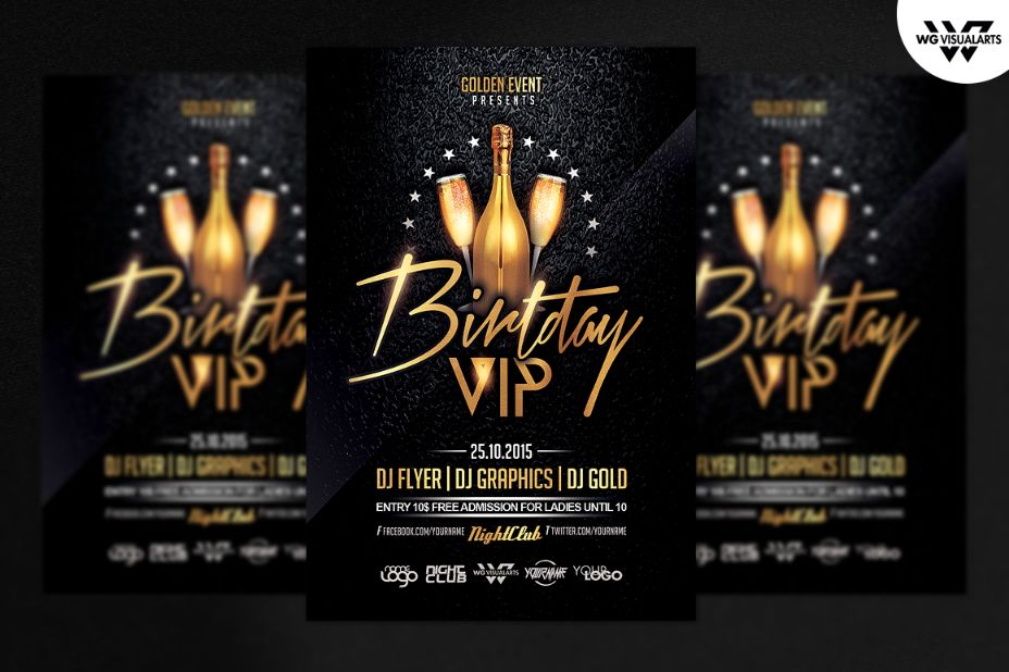 Fully Latered Birthday Flyer Template