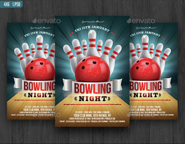 Bowling Invitation Template. Colorful Vector Bowling Invitation