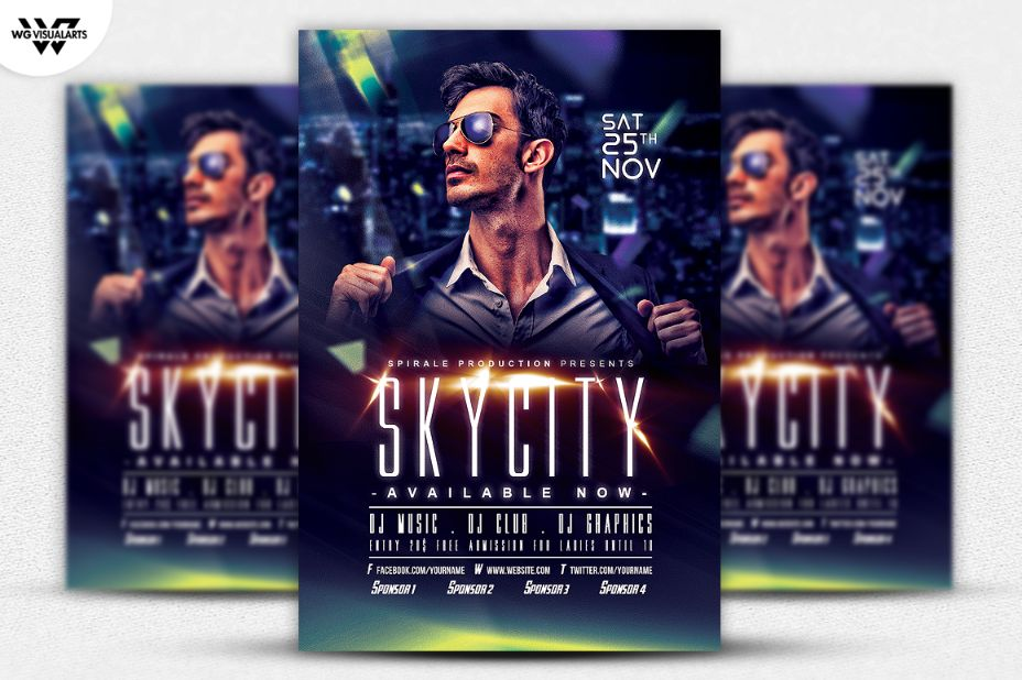 Fully Layered DJ Flyer Template PSD