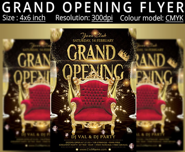 Fully Layered Grand Opening Flyer Template