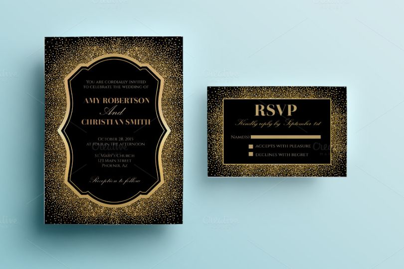 Glitter Wedding Invitation Card Template
