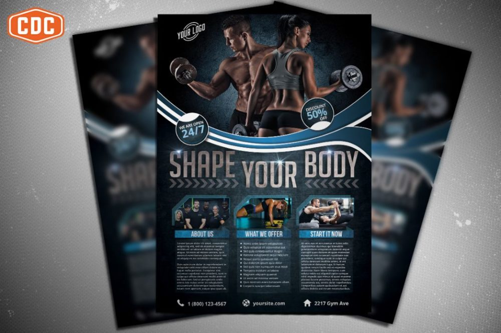 Gym and Fitness Flyer Template PSD
