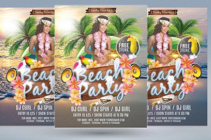 Hawaii Beach Party Flyer Template