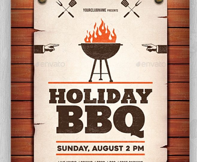 Holiday BBQ Flyer Template PSD