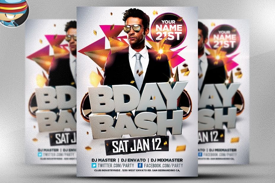 Layered Birthday Flyer Template PSD