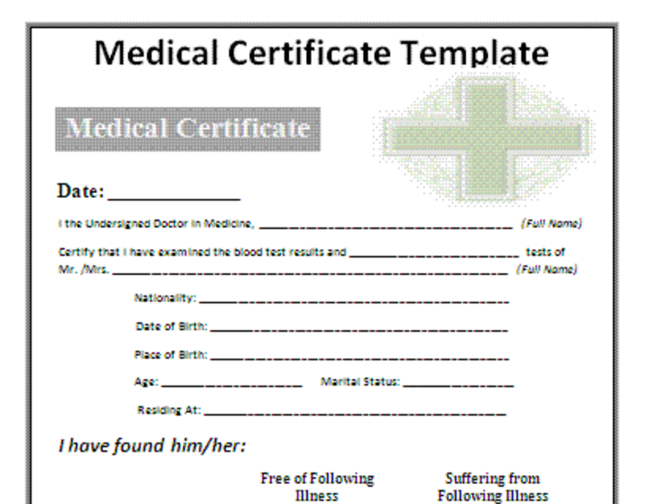 Doc585411 Medical Certificate Template Medical Certificate – Download Medical Certificate