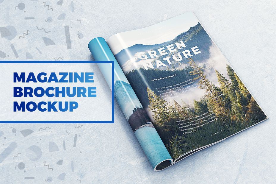Magazine and Brochure Cover Mockup PSD