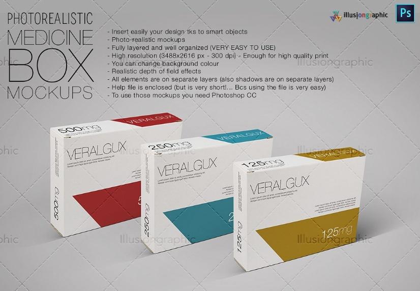 Medicine Box Mockup PSD
