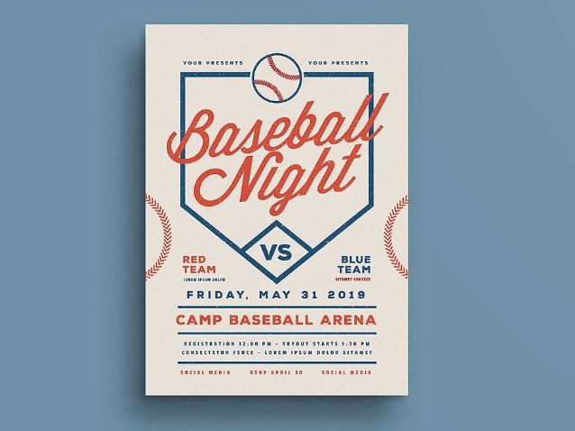 Retro Baseball Night Flyer Template