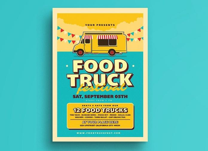 Retro Food Truck Flyer Template PSD