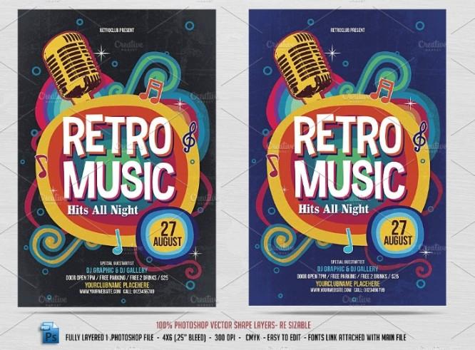 Retro Music Flyer Template PSD