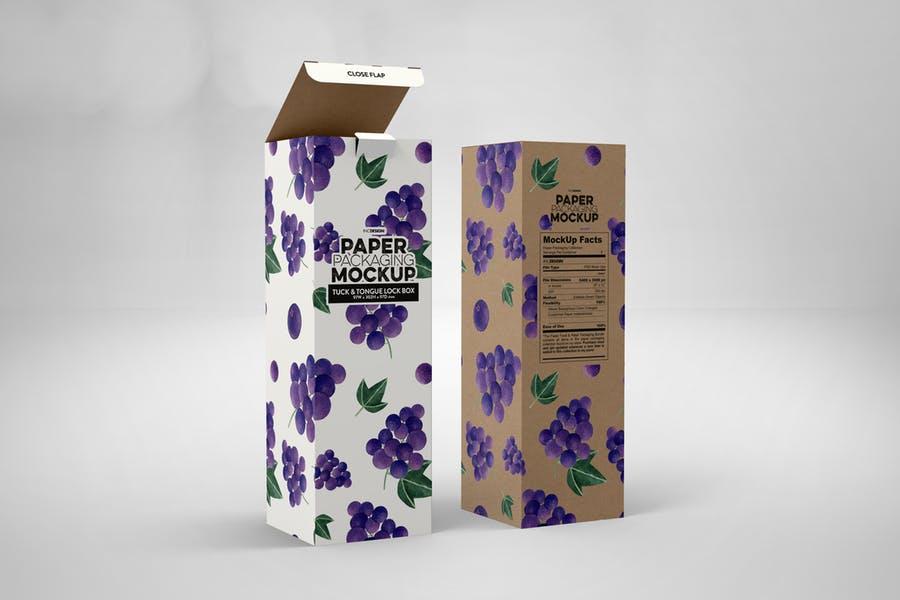 Tall Paper Box Packaging Mockup PSD