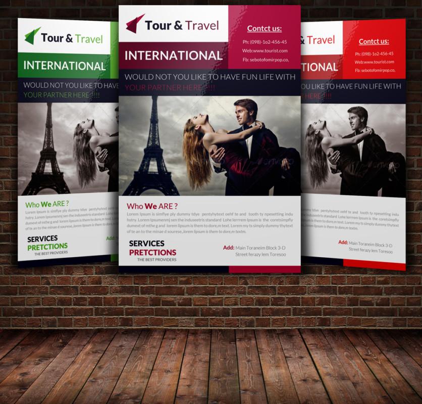 15 travel tourism flyer psd templates graphic cloud for Free online brochure maker