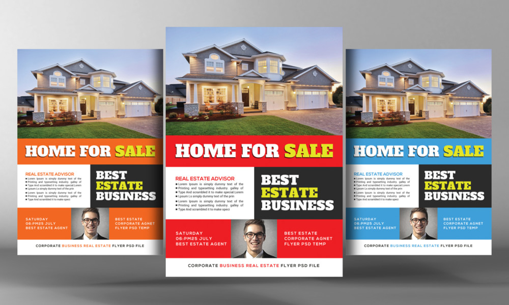 25 Real Estate Flyer PSD Templates Graphic Cloud – Home for Sale Template