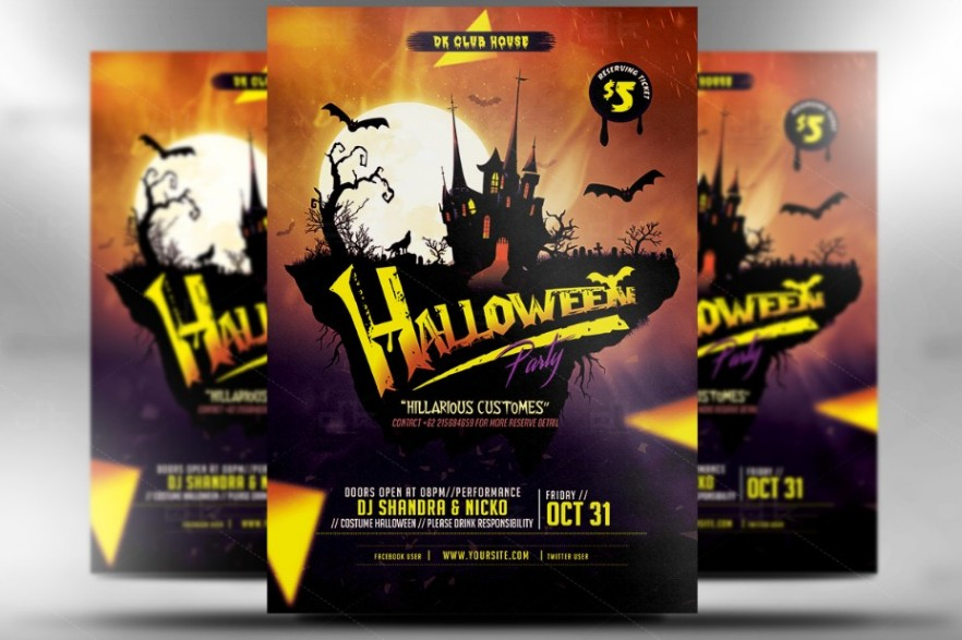 Halloween Party Flyer Template   Psd Ai And Indesign Format