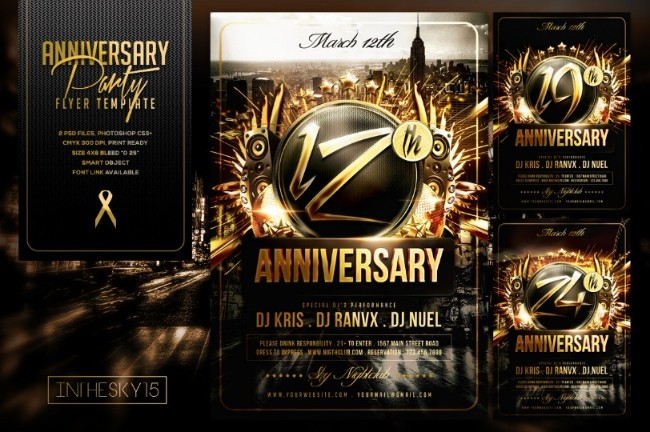 15 Anniversary Flyer Template PSD Word Ai and InDesign Format – Anniversary Flyer