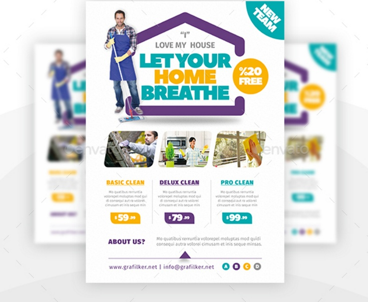 15 House Cleaning Flyer Template PSD inDesign and EPS Format – House Cleaning Flyer Template