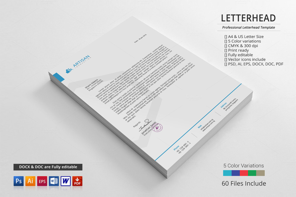 Corporate Letterhead Template Word PSD Ai and EPS Format – Corporate Word Templates