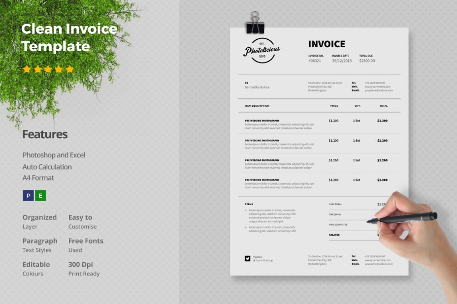 15+ simple invoice template word, psd, ai and indesign - graphic cloud, Invoice examples