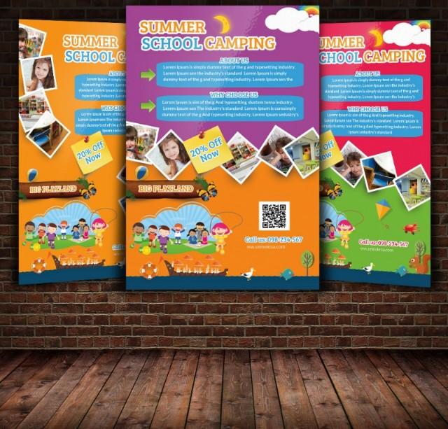 school-camping-flyer-template