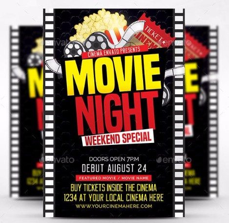 Movie Night Flyer Templaets Psd  Graphic Cloud
