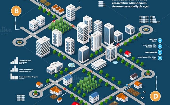 3D City Infometric Vector Illustration