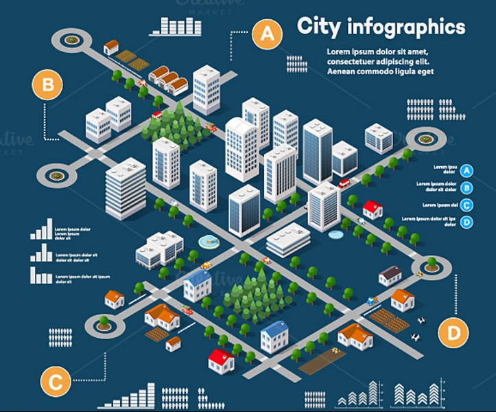 3D City Infometric Vector Illustration