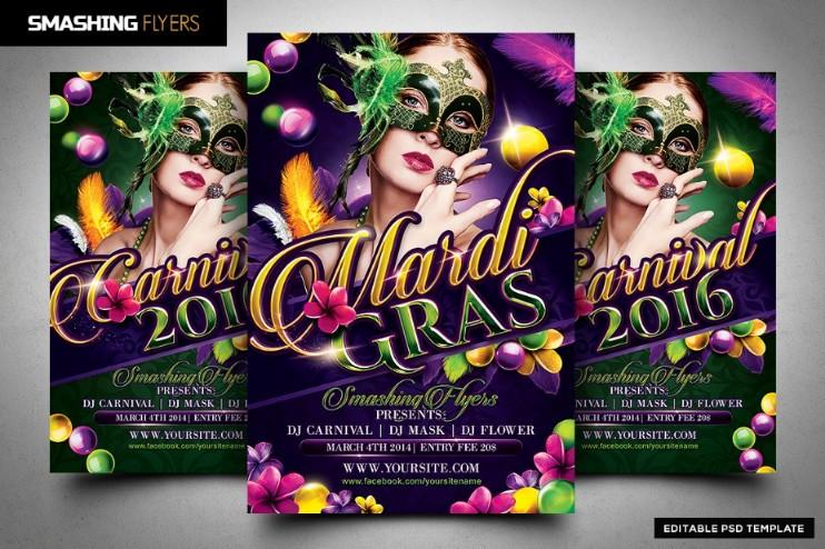 Mardi Gras Festival Flyer Template - $