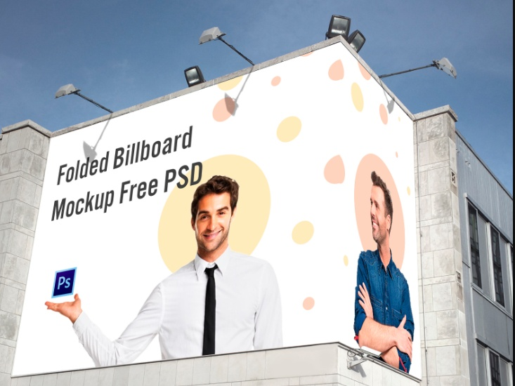 Folded Billboard Mockup PSD