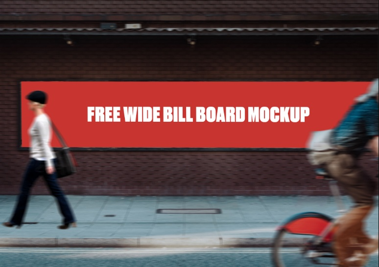 Wide Billboard Mockup PSD Free