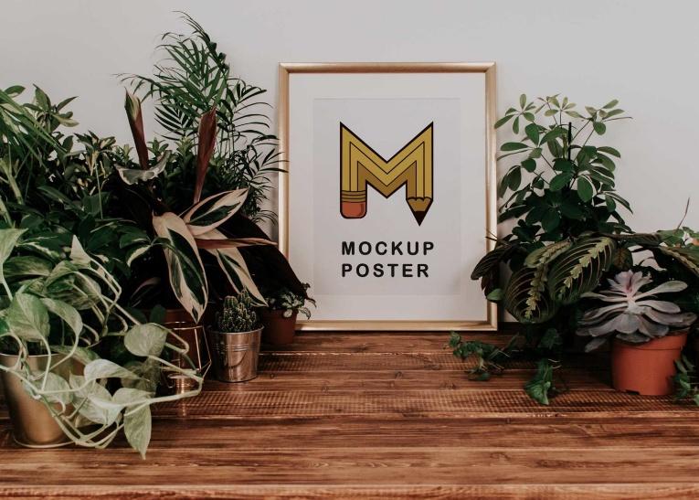 Gold Frame Poster Mockup Free