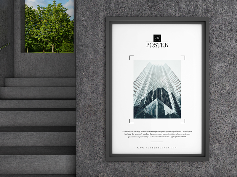 Interior Poster Mockup PSD Free