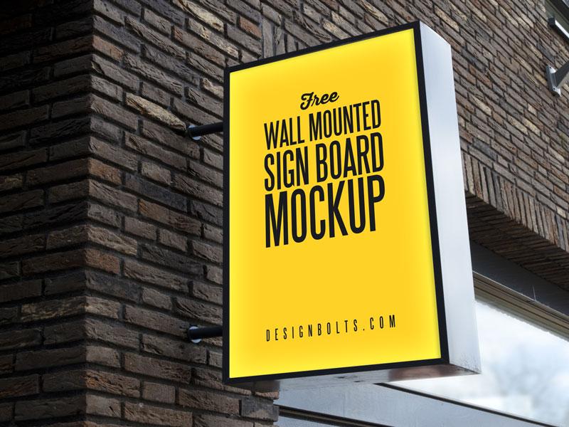 Mounted Sign Mockup PSD