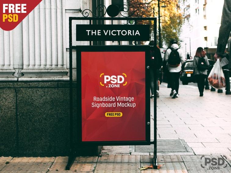 Vintage Sign Mockup PSD