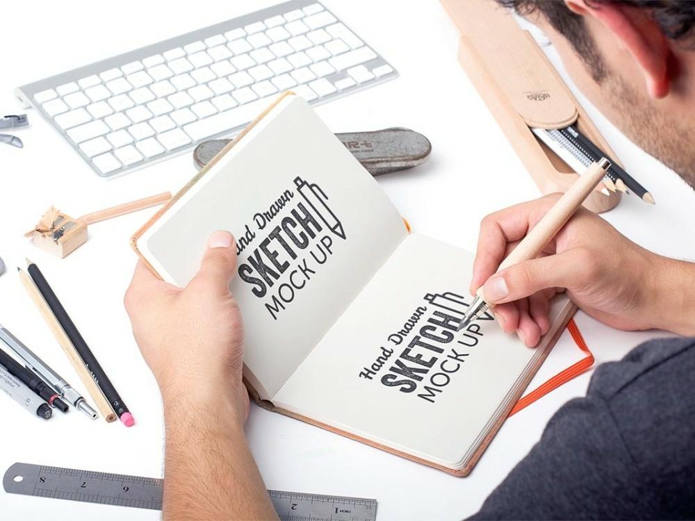 Sketchbook Mockup PSD Free