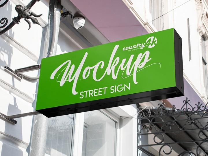 Street Sign Mockup PSD