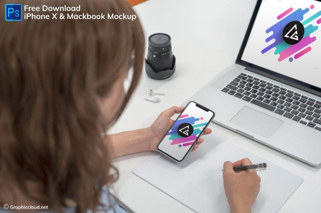 iPhone X & MacBook Mockup
