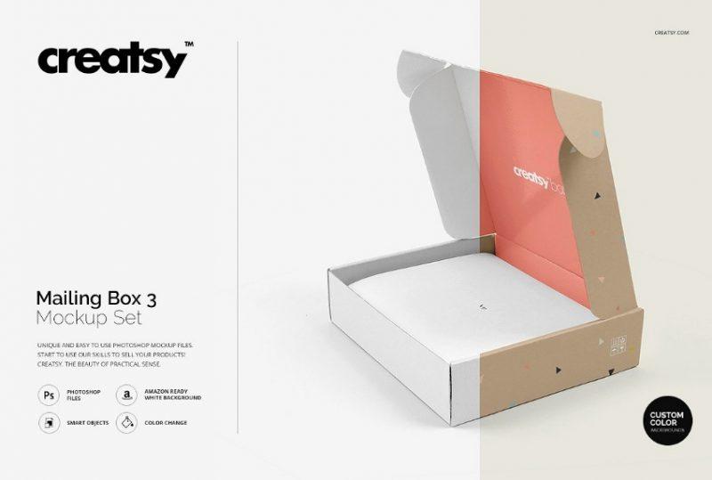 3 Mailing Box Mockup Set