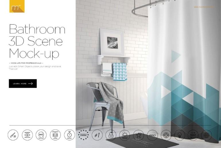 3D Bathroom Scene Mockup PSD