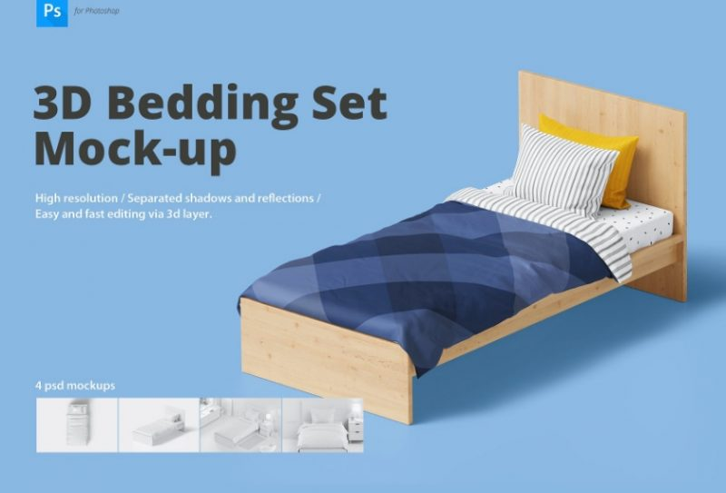 3D Bedding Set Mockup PSD