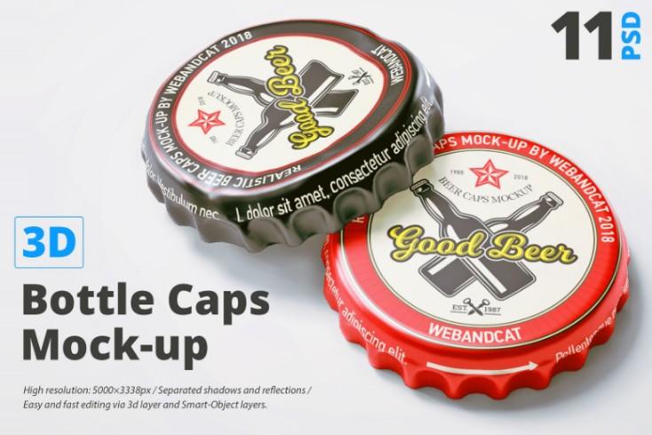 3D Bottles Cap Mockup