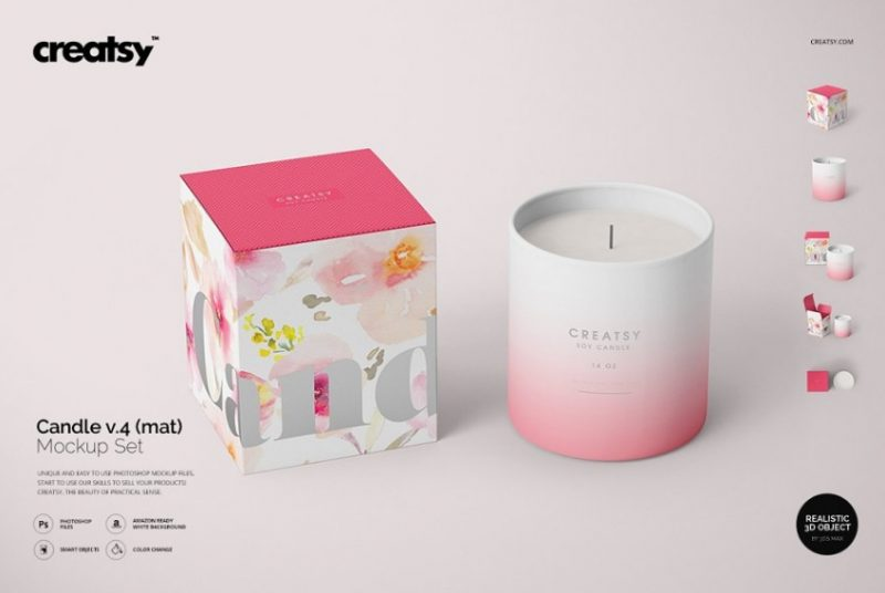 3D Candle Mockup PSD