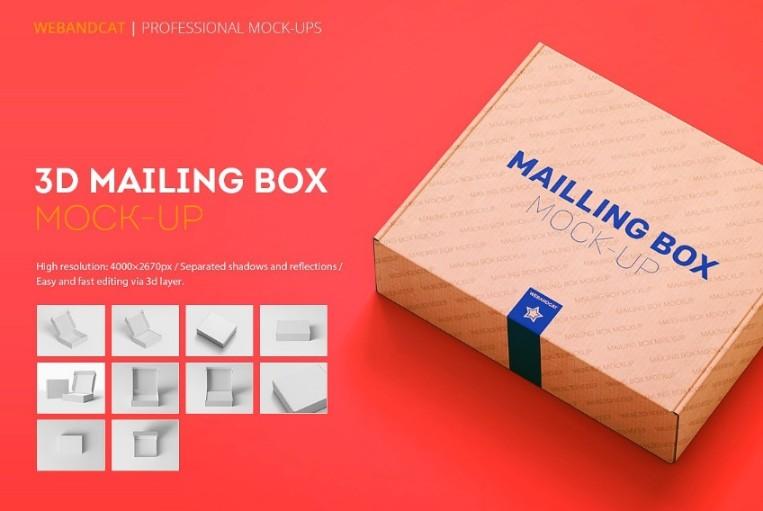 3D Mailing Box Mockup PSD