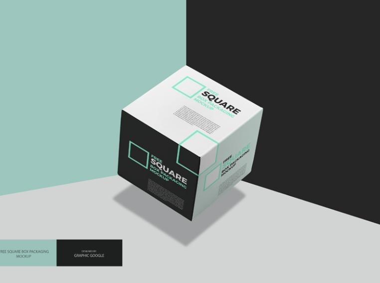 3D Square Box Mockup PSD