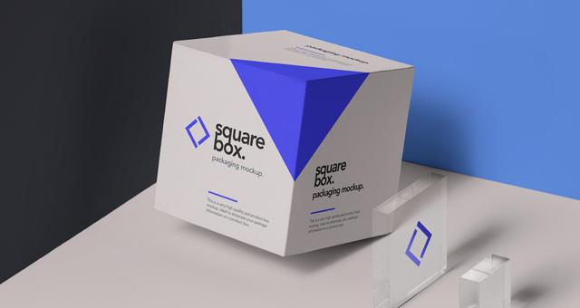 3D Square Box Mockup
