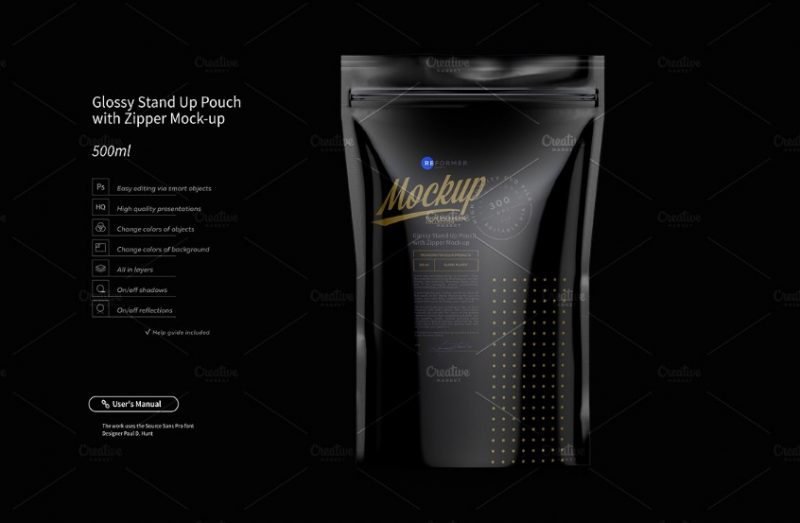 3D Stand Up Pouch Mockup PSD