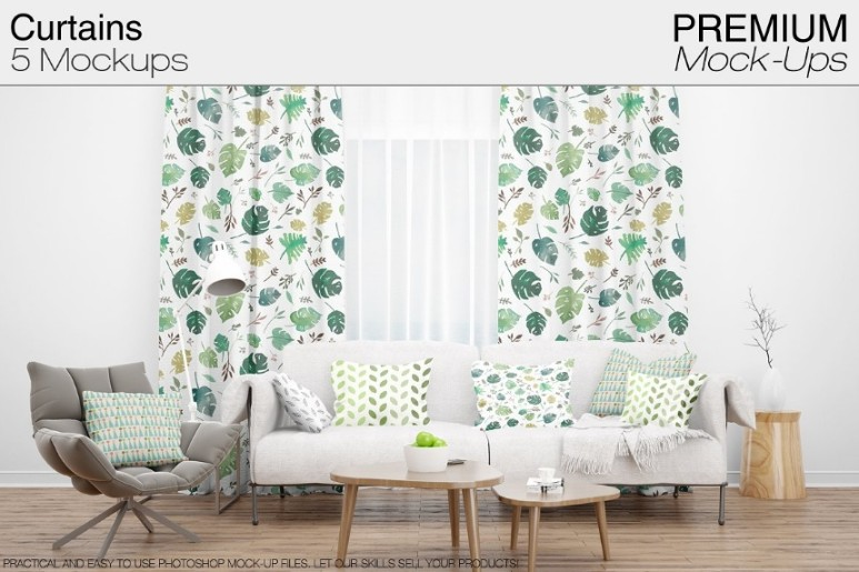 5 Curtain Mockup PSD