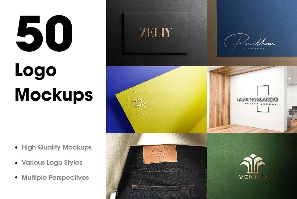50 Logo Mockup Branding Bundle - V1